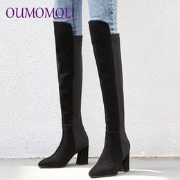 mixed boots Australia - Pointed Toe Plush Sexy Knee High Boots Plus Size Women Square Heels Cow Suede Winter 2019 Mixed Colors Ladies Boots HkWn#