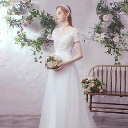 Wholesale short gauze wedding dress for sale – plus size French Light Wedding Dress New Bride Simple Atmosphere Mori Super Fairy Travel Shoot Small Tailing Go Out Gauze Dress