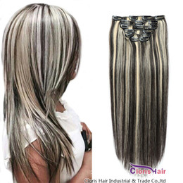 blonde highlight human hair extensions Australia - Thick End 70g 100g Set Panio Color Blonde Ombre Hair Extensions Clip Ins Straight Brazilian Remy Human Hair Highlight 1B 613 Clip In Weave