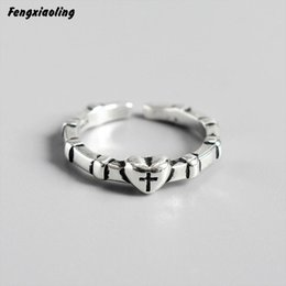 sterling silver cross rings Australia - Fengxiaoling New Hot 100% Genuine 925 Sterling Silver Vintage Mini Heart Cross Rings For Women Fine Jewelry Cute Accessories