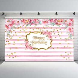 backdrop party Australia - Mehofoto Birthday Party Background White Pink Stripe Photo Backdrop Booth Studio Floral Customize G-416