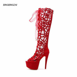 boots 15cm heels 2020 - BBZAI New pattern Europe and America sexy Hollowing out Women's Boots shoes woman 15cm thin heels Stage performance
