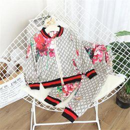 Luxury Designer Children Suit 2020 Autumn Winter Girl Suit Flower Jacket+Trousers 2 Pcs Sets Kids Clothes Casual Baby Girl Boy Set Costume