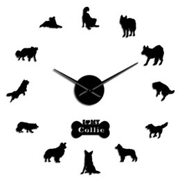 wall border sticker home decor NZ - Silhouette Breed Collie Decor Wall Paw Wall Sticker Scottish Border Wall Clock Giant Dog Frameless Home Dog Sheepdog Diy Clock YHATr
