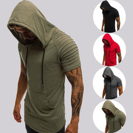 Hot Gym Herren Bekleidung Stringer Short-Hülsen-lose mit Kapuze Hoodies Sommer Slim Fit Solide Basis Muscle Bodybuilding Tops Sweatshirt