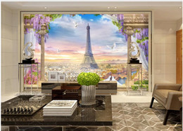 tower wallpapers UK - Custom mural photo wallpaper 3d European style Paris city Eiffel Tower scenery home decor living room wallpaper for walls 3 d in the bedroom