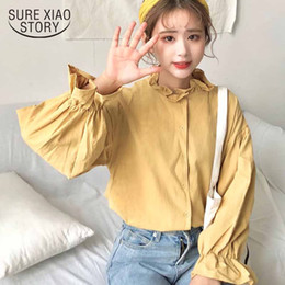 womens korean blouses Australia - White Blouse Women Shirts Korean Style Harajuku Clothes Womens Tops and Blouses All Match Flare Sleeve Fashion Chic Blusas 11250