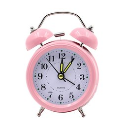 Discount digital bell alarm clock 4 Inch Metal Round Alarm Clock Silent Desk Table Digital clock with Backlight Double Bell Home Decor Kid Gifts