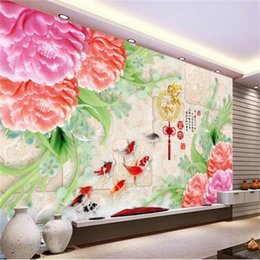 peonies picture UK - custom size 3d photo wallpaper living room bed room Chinese fish jade carving peony tile mosaic picture sofa TV backdrop wallpaper sticker