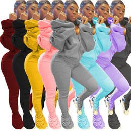 Wholesale black jacket puff sleeves resale online – Women hooded Sweatsuit sexy piece set puff sleeve backless jacket leggings sports jogger suits fall winter clothing plus size outfits