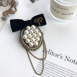 Wholesale sweater pearls knitwear resale online - 6vRjW Korean sweater cardigan pearl knitwearlace accessories for women Brooch brooch pin Koreancoat sweater pin cardigan pearl Knitwear kni