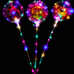 24 Inches Helium Transparent LED Balloon Flashing Bobo Balloon with Stickers Cartoon Balloon Feathers Glitters for Festival Decoration