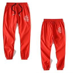 Wholesale 38 hip resale online – designer 2020 Trendy brand men s casual pants trousers women s tie pants couple beach pants thin hip hop sports pants
