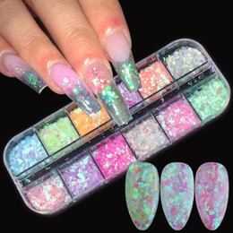 iridescent glasses Canada - Aurora Cellophane Nail Sequins Irregular Glass Flakes Iridescent Paillette 3D Decoration Shapes Nail Art Manicure Accessory BESP
