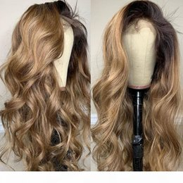 black blonde ombre wig NZ - Ombre Dark Blonde Body Wave 360 Lace Frontal Human Hair Wigs for Black Women 150Density Glueless Full Lace Wigs with Baby Hairv