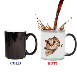 heat sensitive coffee mugs Canada - Cute Cat Panda Magic Temperature Changing Cup Color Changing Chameleon Mugs Heat Sensitive Cup Coffee Milk Mug Novelty Gifts
