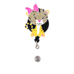 rhinestone badge reels UK - 10pcs lot New Design Rhinestone Retractable Cute Animal Tiger Badge Reel With Pink Bow ID Card Badge Holder