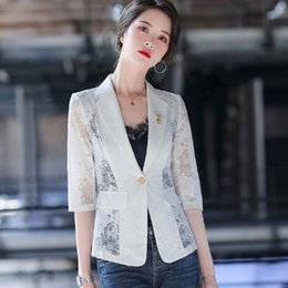 white lace short suit Australia - mQyYT M1SmM printed chiffon lace White small suit women's short and summer spring thin Korean casual all-match Coat celebrity internet silk s