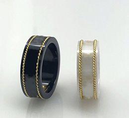 Vente en gros 18k Gold RIM Couple Bague Fashion Simple Lettre Anneau Qualité Matériau Céramique Bague Fashion Bijoux