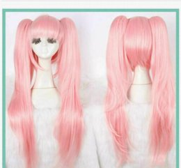 Wholesale animation cosplay resale online - Animation Cosplay Party Wig Fashion Light Pink Clip Ponytail Cos Full Wig Hair