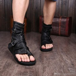 mens leather shoes sandal Canada - Gladiator Sandals For Men Black White Ankle Leather Men Flats Italian Shoes Sandals Mens Slippers 3uJv#
