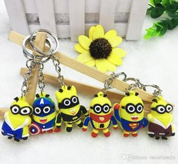 minion key rings UK - Cute 500pcs lot Mix 3d Figure Minion Keyring Ring Action Sale Dhl Free Despicable Key Me Keychain 2015 Hot 18 Styles Order bbyfP