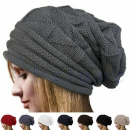 Discount girls slouchy beanies Winter Knitted Hat Women Hat Slouchy Beanie for Girls Skullies Cap Female Solid Streetwear Vintage