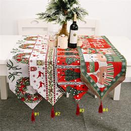 180 * 35 centímetros Mesa Xmas Christmas Party Flag Runner algodão e linho Toalha de Mesa criativa da tabela do Natal do Desktop Decoration Supplies D9807
