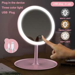 Portable High Definition Led Makeup Mirror Vanity Mirror With LED Lights Touch Screen Dimmer Led Desk Cosmetic Mirror 90 Degree Rotation on Sale