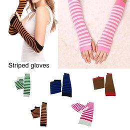 striped long arm warmer Canada - Long Fingerless Gloves Rock Style Stripe Arm Warmer Gloves Women Long Costume For Masquerade Christmas