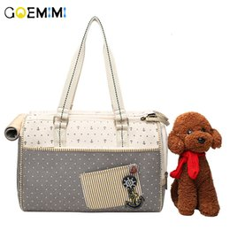 handbags dog cat UK - Brand New Pet Dog Canvas Carrier Portable Sailor pattern Puppy Outdoor Bag Top Quality Breathable Handbags For Cat