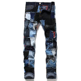 Wholesale hip hop male jeans resale online – designer New Arrival Mens Fashion Ripped Jeans Pants Patchwork Streetwear Straight Denim Trousers For Male Hip Hop Washed