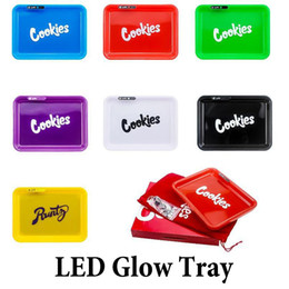 LED Glow Tray With Carry Bag Rechargeable Cookies Runtz Backwoods Skittles Featured Dry Herb Tobacco Storage Holder on Sale
