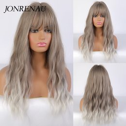 long light brown wig bangs UK - JONRENAU Ombre Grey Synthetic Wigs Long Curly Natural Hair Womens Wig with Bangs Heat Resistant For Cosplay Daily Party Use