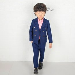 Wholesale Flower Boys England Style Suits Gentle Boy Formal Costume High Quality Wedding Party Suit Kids Brazer Pants Clothing SetIF0O Deals
