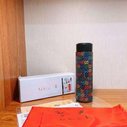 Moda Pattren acciaio inossidabile Coppe casa della boccetta di vuoto della tazza termica del thermos del caffè Tazza bottiglia di acqua di visualizzazione della temperatura bollitore Thermo Cup in Offerta