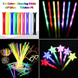 night glowing plastic UK - 2022 Multi Colorful LED Flashing Night Light Lamp Glow Wand Sticks + Strap Birthday Christmas Party Festival Concert Glow Stick