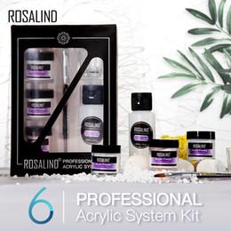 ROSALINDA 6pcs / polvo de acrílico Starter Kit de uñas de larga duración Extensión talla del polvo fijado para el diseño de uñas Arte en venta