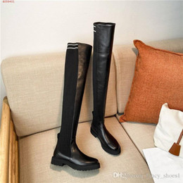 tall thigh high boots Australia - The latest Tall Leather and Knit Sock Boots for Women with Brushed Leather Front and Heel Panels Thigh-High Boots Size 35-40