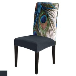 peacock chairs NZ - 6 8Pcs Peacock Feather Art Dining Chair Cover Spandex Elastic Chair Slipcover Case Stretch for Wedding Hotel Banquet