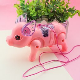 baby light toy UK - Glowing Toy Pig Electric Walking Singing Musical Light Pig Toy with Leash Interactive Kids Baby Toy Gift