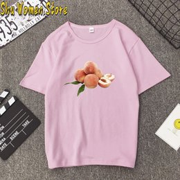 korean cute women t shirt UK - Women's T-shirt Peach 90s Harajuku Cute T Shirt Women Peachy Funny Cartoon T-shirt Anime Pink Tshirt Korean Style Top Tees Fema