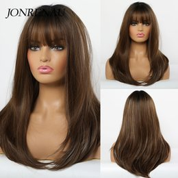 long light brown wig bangs UK - Jonrenau Synthetic Wigs for Black Women Afro Long Straight Ombre Black Brown Ash Blonde wig with Bangs Cosplay Layered wig