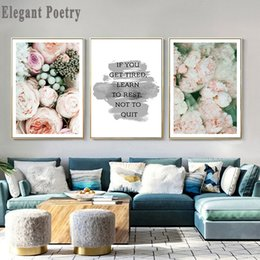 peonies picture UK - Peony Flower Canvas Motivational Poster Wall Art Print Painting Nordic Style Wall Picture Living Room Scandinavian Home Decor