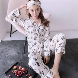 venda por atacado Lady Pijamas Set Mulheres Meninas de cetim de seda do pijama Set Ladys Long Sleeve Flower Impresso Pijamas Homewear Pj Unisex Pijama Plus Size M-3XL # 865