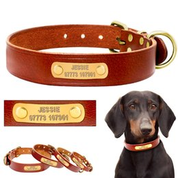 sunglasses for small dogs Australia - Personalized Dog ID Collar Leather Customized Engraved Pet ID Tag Puppy Name Phone No. Plate Adjustable For Small Medium Dogs Y200922