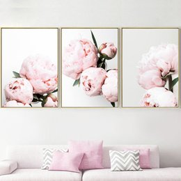 peonies picture UK - Pink Peony Flower Plant Landscape Wall Art Canvas Painting Nordic Posters And Prints Wall Pictures For Living Room Bedroom Decor