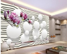 purple wallpaper wholesale UK - Purple Magnolia Flower Striped 3D TV Wall mural 3d wallpaper 3d wall papers for tv backdrop