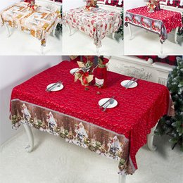 print tablecloths wholesale Australia - Christmas Decorations Table Cloth New Year Christmas Cartoon Polyester Printed Tablecloth Household Table Cover 150*180cm DHL WX9-1731