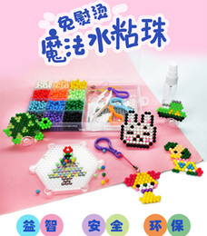 spelling puzzle 2021 - Child creative diy water mist magic beads handwork puzzle spell bean suit water glue bead toy gift